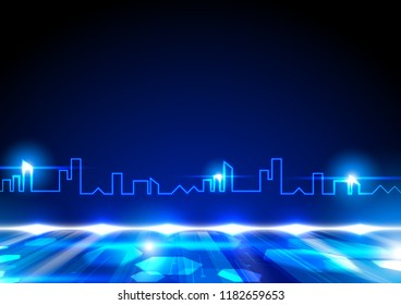 Blue line in shape of city with shining lights and fluorescent ground, future technology concept