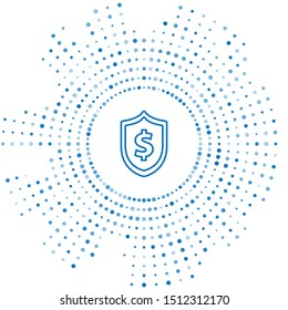 Blue line Shield with dollar symbol icon isolated on white background. Security shield protection. Money security concept. Abstract circle random dots. Vector Illustration