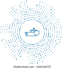 Blue line Ship with shield icon isolated on white background. Insurance concept. Security, safety, protection, protect concept. Abstract circle random dots. Vector Illustration