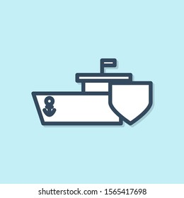 Blue line Ship with shield icon isolated on blue background. Insurance concept. Security, safety, protection, protect concept.  Vector Illustration