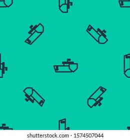 Blue line Ship with shield icon isolated seamless pattern on green background. Insurance concept. Security, safety, protection, protect concept.  Vector Illustration