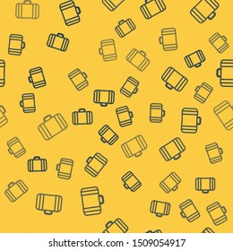 Blue line Suitcase for travel icon isolated seamless pattern on yellow background. Traveling baggage sign. Travel luggage icon.  Vector Illustration
