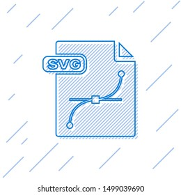 Blue line SVG file document. Download svg button icon isolated on white background. SVG file symbol.  Vector Illustration