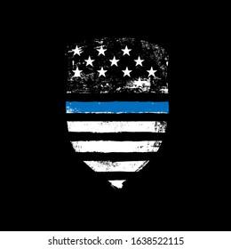 Blue line symbol. Shield icon shaped american flag. Grunge vector illustration.