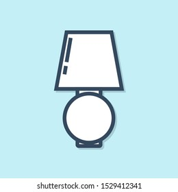 Blue line Table lamp icon isolated on blue background.  Vector Illustration