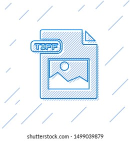 Blue line TIFF file document. Download tiff button icon isolated on white background. TIFF file symbol.  Vector Illustration