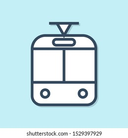 Blue line Tram and railway icon isolated on blue background. Public transportation symbol.  Vector Illustration