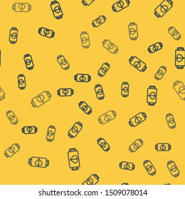 Blue line Two coffee cup and heart icon isolated seamless pattern on yellow background. Couple coffee for lovers on Valentines Day.  Vector Illustration