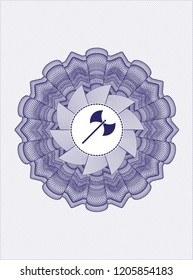 Blue linear rosette with medieval axe icon inside