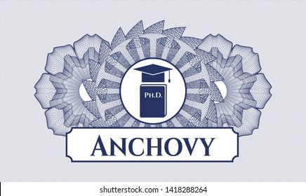 Blue linear rosette with Phd thesis icon and Anchovy text inside