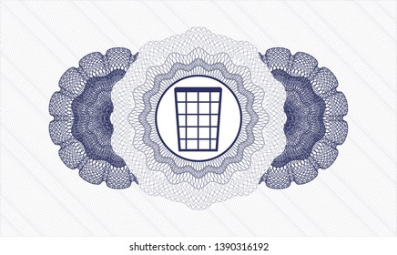 Blue linear rosette with wastepaper basket icon inside