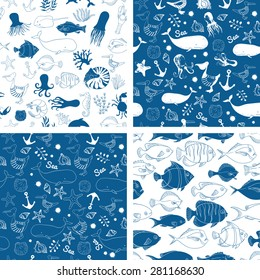 Blue linear seamless vector pattern. Nautical background with fish, whale, octopus and jellyfish. Linear illustration.