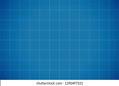Blue Lined Blueprint Background. Architecture Backdrop. Vector Illustration.