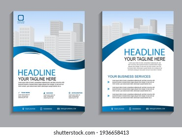 Blue lines flyer layout template in A4  size. Modern Brochure template cover design, annual report, poster  with geometric and wavy  lines for business market on white background, vector illustration