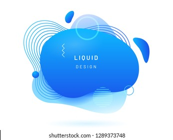 Blue liquid blob with lines and circle. Coral abstract fluid spot as template for logo background. Crimson gradient aqua blotch for modern card design. Dynamical colored circles, lines in free shape