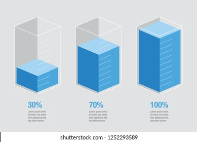 Blue liquid histogram glass bars display. Flat design inforchart / infographic template with text, 30%, 70%, 100%, isolated on bright background, isometric cube illustration concept vector eps 10