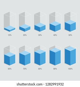 Blue liquid histogram glass template from 10% to 100%. Flat design infochart / infographic template with text, isolated on white background, isometric illustration concept vector eps 10