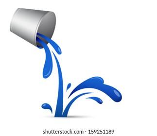 Blue liquid splashing out of bucket