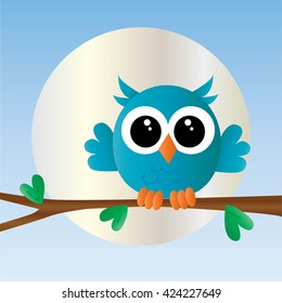 a blue little cute owl