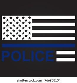 Blue Lives Matter Flag. Police USA falg