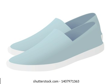 Blue loafer shoes. vector illustration