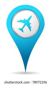 blue location airplane icon