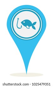 Blue location fishing icon for maps