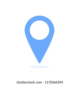 The blue location icon is shown on a white background
