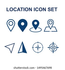 blue location icons set for UI and app designs