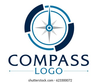 Blue logo with compass.