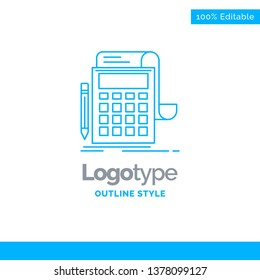 Blue Logo design for Accounting, audit, banking, calculation, calculator. Business Concept Brand Name Design and Place for Tagline. Creative Company Logo Template. Blue and Gray Color logo design 100%
