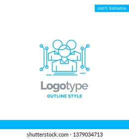 Blue Logo design for Anthropometry, body, data, human, public. Business Concept Brand Name Design and Place for Tagline. Creative Company Logo Template. Blue and Gray Color logo design 100% Editable T
