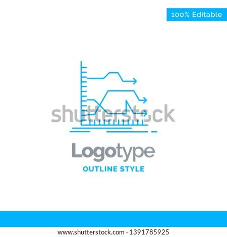 Blue Logo Design Arrows Forward Graph Stock Vector (Royalty Free