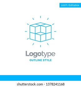 Blue Logo design for box, labyrinth, puzzle, solution, cube. Business Concept Brand Name Design and Place for Tagline. Creative Company Logo Template. Blue and Gray Color logo design 100% Editable Tem