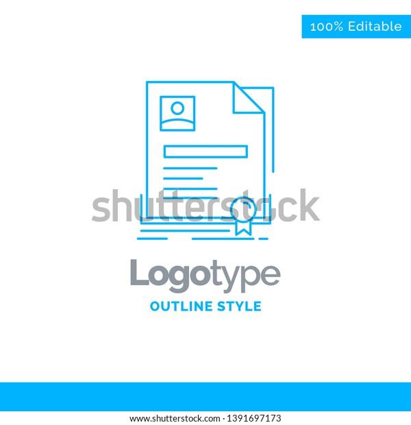 Blue Logo Design Contract Badge Business Stock Vector