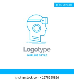 Blue Logo design for VR, googles, headset, reality, virtual. Business Concept Brand Name Design and Place for Tagline. Creative Company Logo Template. Blue and Gray Color logo design 100% Editable Tem