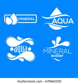 Blue logos set. Label for mineral water. Aqua icons collection.