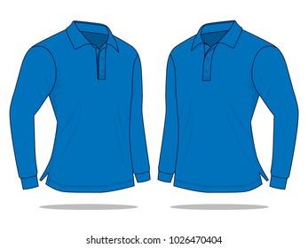 Blue long sleeve polo shirt neck collar : Perspective view