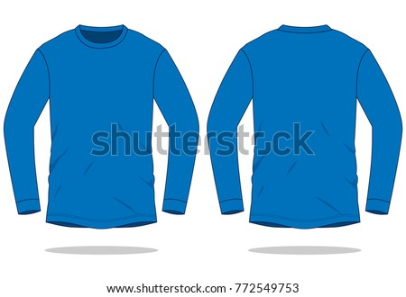 Blue Long Sleeve T Shirt Template Stock Vector Royalty Free