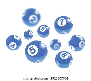 Blue Lottery Bingo Balls Isolated on White Background