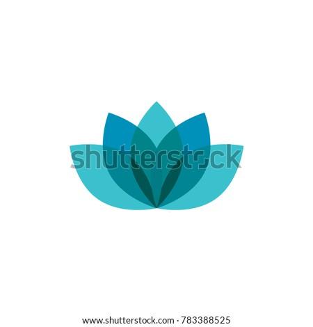 blue lotus logo icon template のベクター画像素材 ロイヤリティ