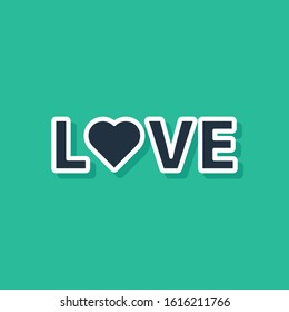 Blue Love text icon isolated on green background. Valentines day greeting card template.  Vector Illustration