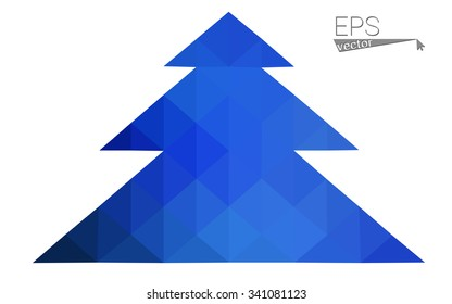 Blue low polygon style christmas tree vector illustration consisting of triangles . Abstract triangular polygonal origami or crystal design of New Years celebration. Isolated on white background.