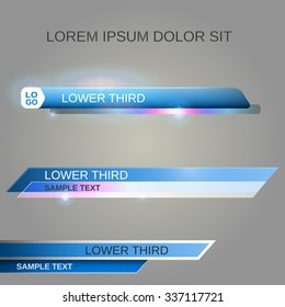Blue lower third banners - vector illustration