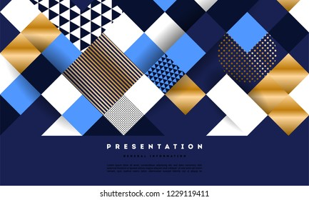 Blue Luxury Geometric Pattern Background With Ornament of Triangles.    Geometry Gold and Sea Blue Colors Design Element vector illustration for elegant invitation, awards and presentations.