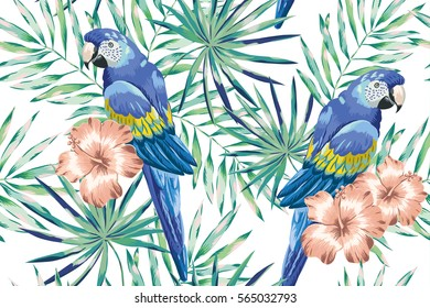 Blue macaw parrots with mint palm leaves and blush pink hibiscus on the white background. Vector seamless pattern. Tropical jungle illustration with birds and flowers.
