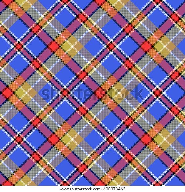 Blue madras diagonal plaid pixeled seamless pattern. Vector illustration.