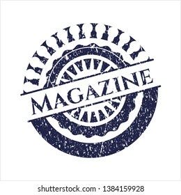 Blue Magazine rubber grunge stamp