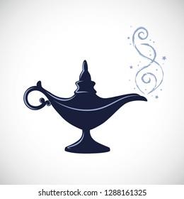 blue magic aladdin miracle lamp vector illustration