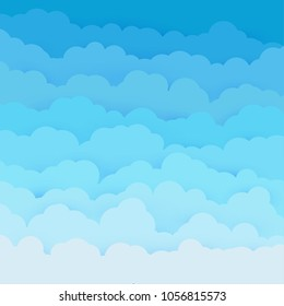 Blue magical clouds in the sky. Flat background for posters, banners. Heaven's beauty concept illustration background. Feminine, sweet fresh tints of morning sun rays.